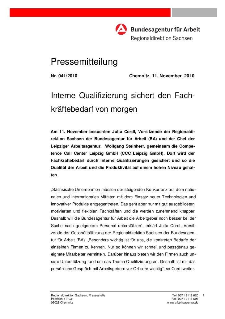 PressemitteilungNr. 041/2010                              Chemnitz, 11. November 2010Interne Qualifizierung sichert den Fa...
