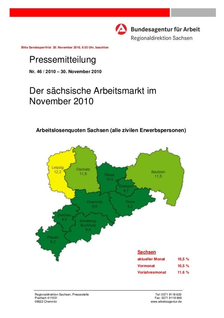 Bitte Sendesperrfrist 30. November 2010, 9.55 Uhr, beachten     Pressemitteilung     Nr. 46 / 2010 – 30. November 2010    ...