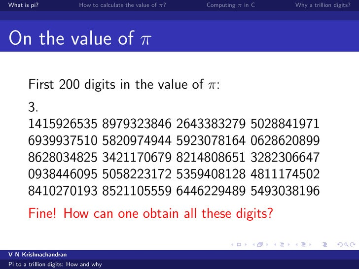 pi to a trillion digits how and why