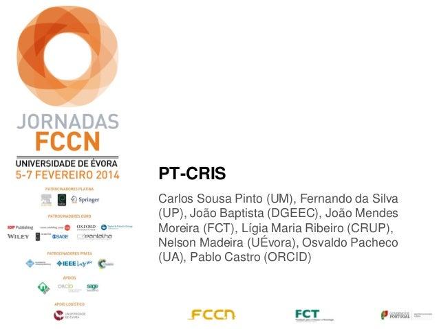 PT-CRIS Carlos Sousa Pinto (UM), Fernando da Silva (UP), João Baptista (DGEEC), João Mendes Moreira (FCT), Lígia Maria Rib...