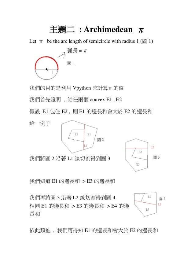 圖 4 主題二 : Archimedean π Let π be the arc length of semicircle with radius 1 (圖 1) 我們的目的是利用 Vpython 來計算π 的值 我們首先證明 , 給任兩個 c...