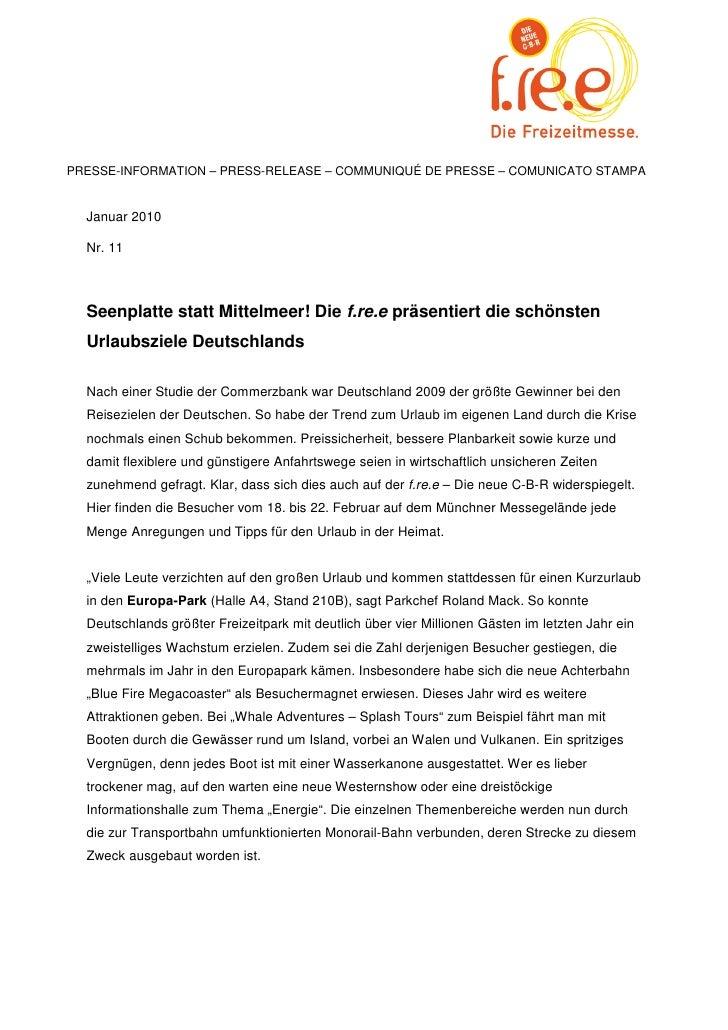 PRESSE-INFORMATION – PRESS-RELEASE – COMMUNIQUÉ DE PRESSE – COMUNICATO STAMPA  Januar 2010  Nr. 11  Seenplatte statt Mitte...