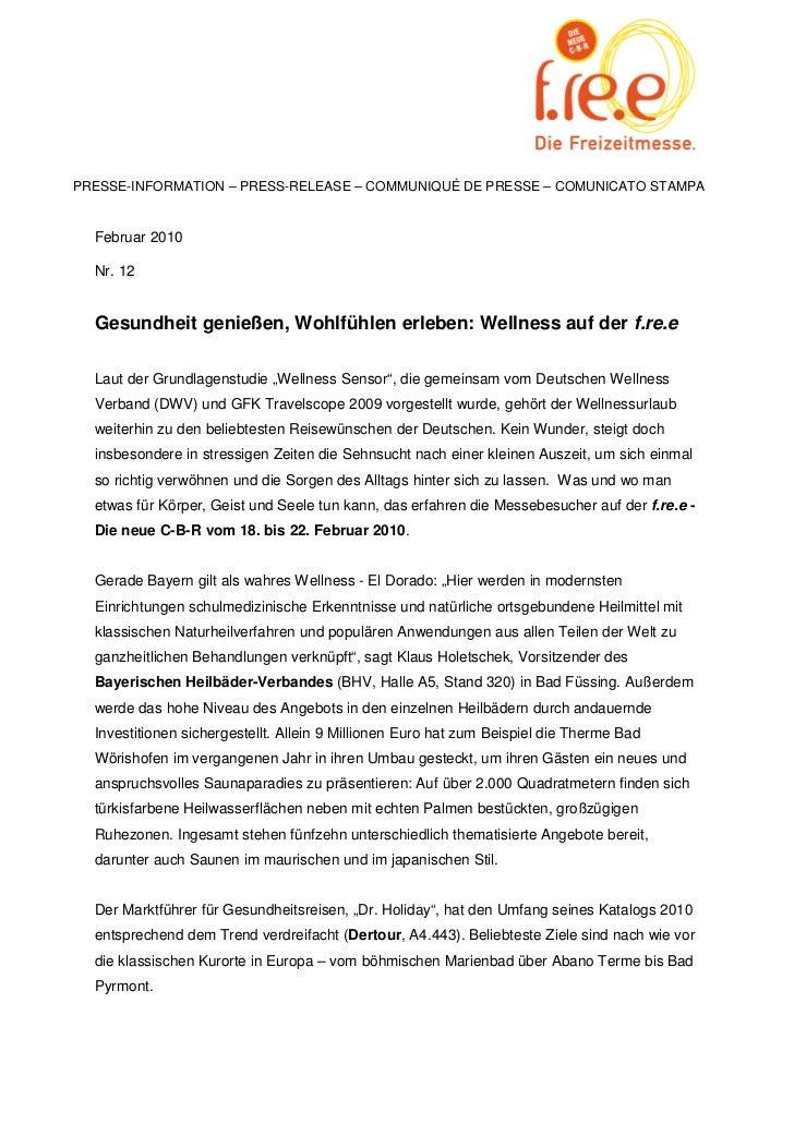 PRESSE-INFORMATION – PRESS-RELEASE – COMMUNIQUÉ DE PRESSE – COMUNICATO STAMPA  Februar 2010  Nr. 12  Gesundheit genießen, ...