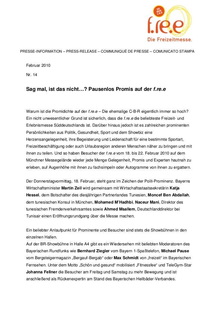 PRESSE-INFORMATION – PRESS-RELEASE – COMMUNIQUÉ DE PRESSE – COMUNICATO STAMPA  Februar 2010  Nr. 14  Sag mal, ist das nich...