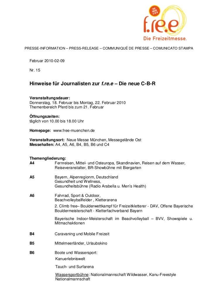 PRESSE-INFORMATION – PRESS-RELEASE – COMMUNIQUÉ DE PRESSE – COMUNICATO STAMPA  Februar 2010-02-09  Nr. 15  Hinweise für Jo...
