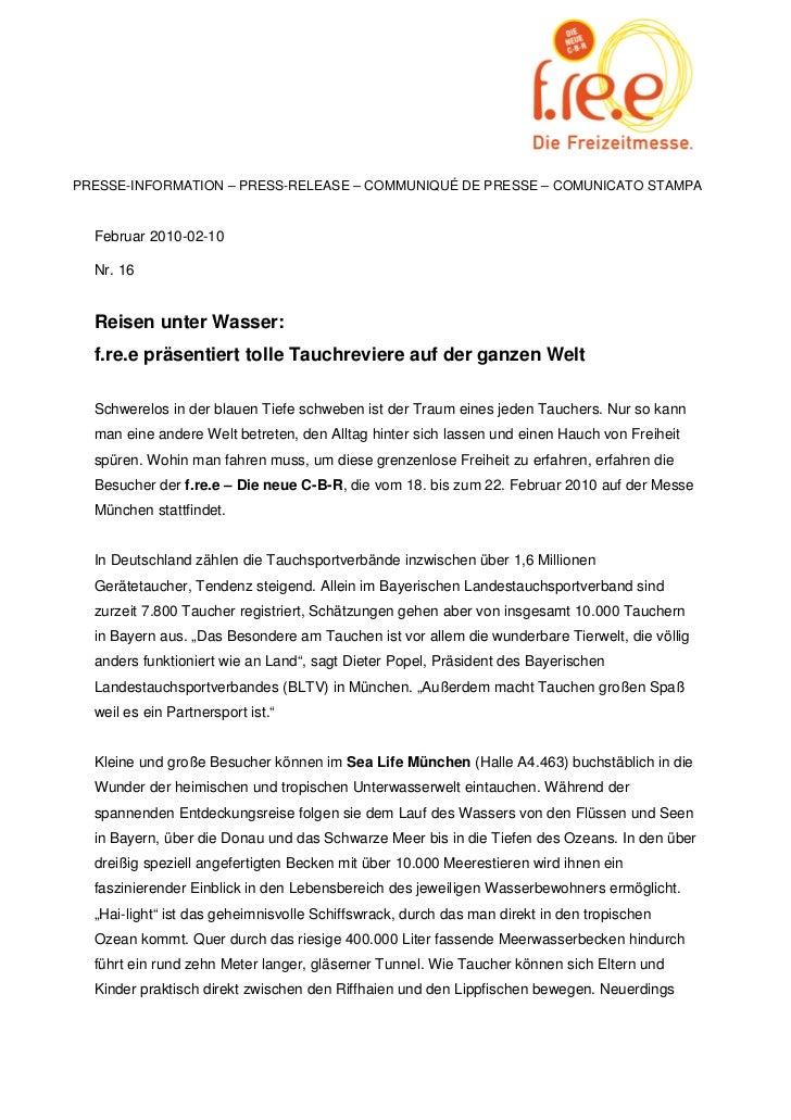 PRESSE-INFORMATION – PRESS-RELEASE – COMMUNIQUÉ DE PRESSE – COMUNICATO STAMPA  Februar 2010-02-10  Nr. 16  Reisen unter Wa...