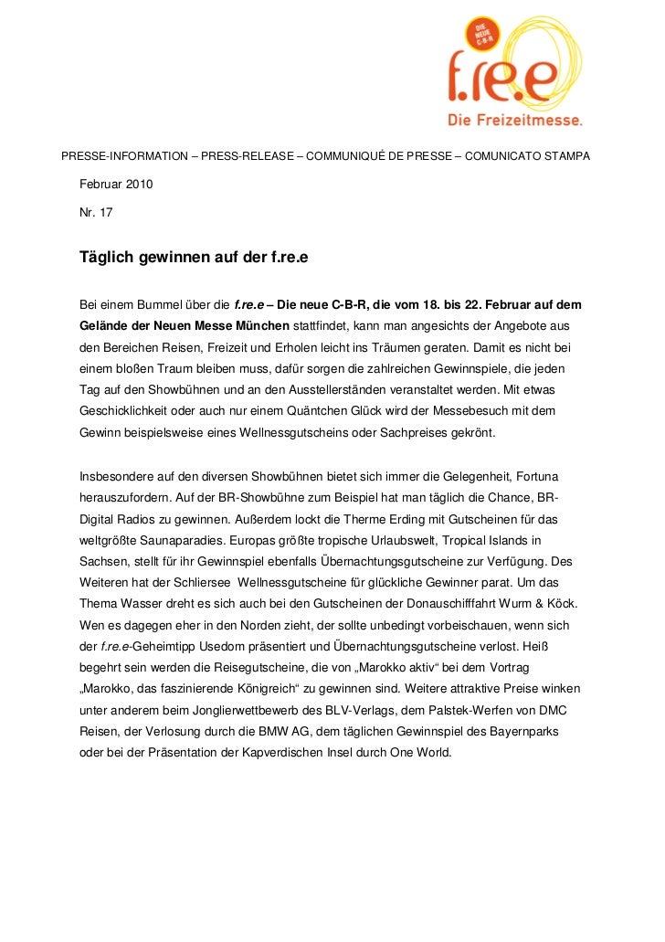 PRESSE-INFORMATION – PRESS-RELEASE – COMMUNIQUÉ DE PRESSE – COMUNICATO STAMPA  Februar 2010  Nr. 17  Täglich gewinnen auf ...