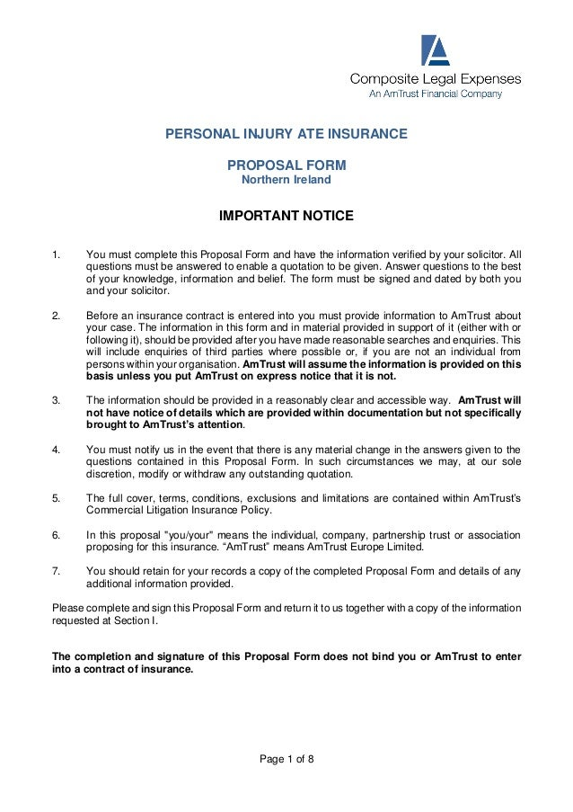 Personal Injury Northern Ireland.- Cle Ate Proposal Form