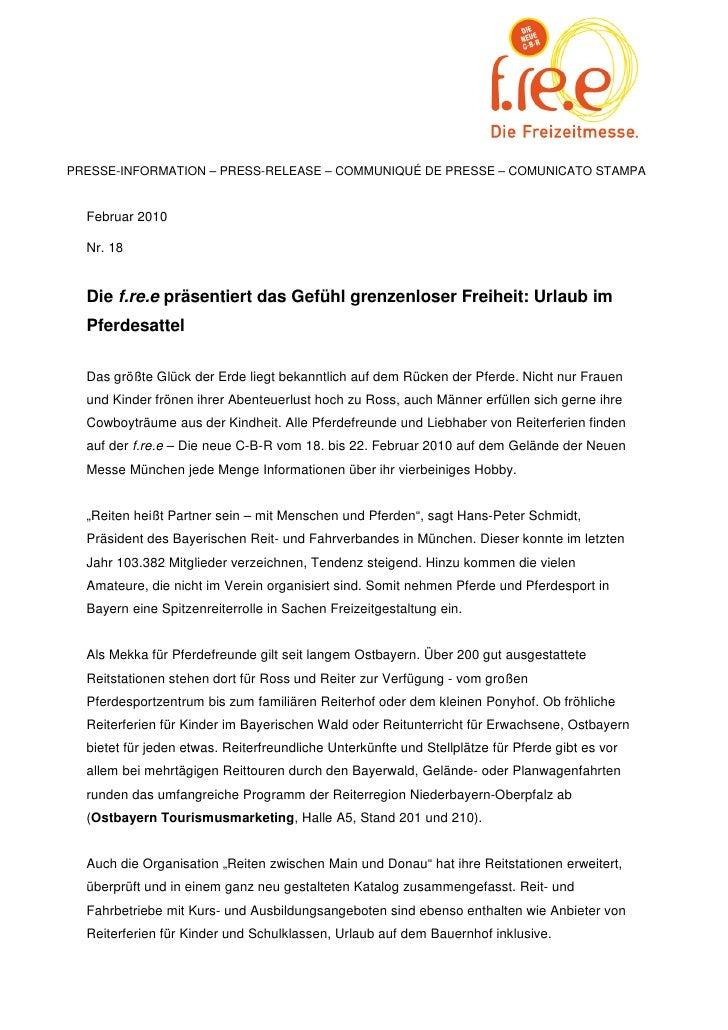 PRESSE-INFORMATION – PRESS-RELEASE – COMMUNIQUÉ DE PRESSE – COMUNICATO STAMPA  Februar 2010  Nr. 18  Die f.re.e präsentier...
