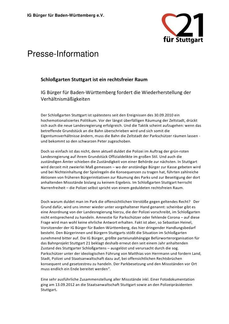 IG Bürger für Baden-Württemberg e.V.Presse-Information      Schloßgarten Stuttgart ist ein rechtsfreier Raum      IG Bürge...