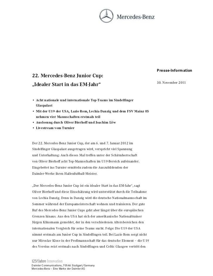 Presse-Information 0HUFHGHV%HQ] -XQLRU XS                                                                               30...