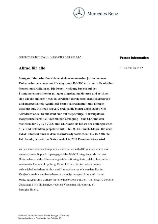 Neuentwickelter 4MATIC-Allradantrieb für den CLA                              Presse-InformationAllrad für alle           ...