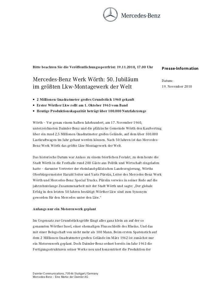 %LWWH EHDFKWHQ 6LH GLH 9HU|IIHQWOLFKXQJVVSHUUIULVW   8KU           Presse-InformationMercedes-Benz Werk Wörth: 50. Jubiläu...