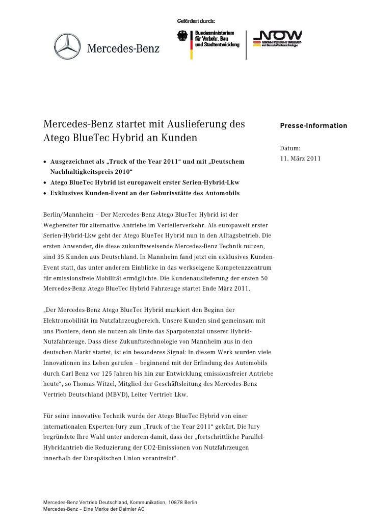 Mercedes-Benz startet mit Auslieferung des                                        Presse-InformationAtego BlueTec Hybrid a...