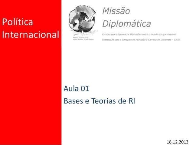 Política Internacional Aula 01 Bases e Teorias de RI 18.12.2013