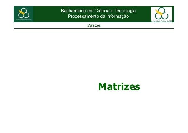 Bacharelado em Ciência e TecnologiaProcessamento da InformaçãoMatrizesMatrizes