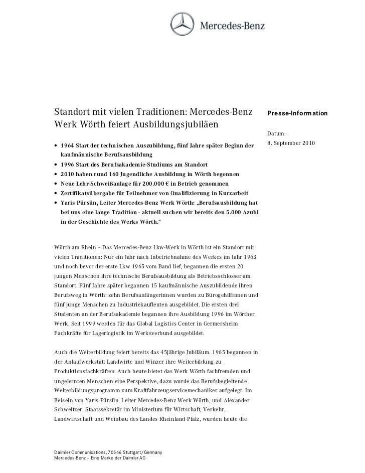 Standort mit vielen Traditionen: Mercedes-Benz                                   Presse-InformationWerk Wörth feiert Ausbi...