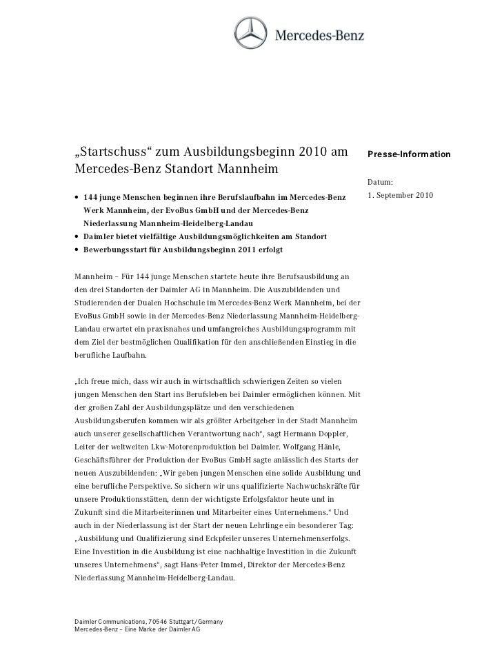 """""""Startschuss"""" zum Ausbildungsbeginn 2010 am                                          Presse-InformationMercedes-Benz Stand..."""