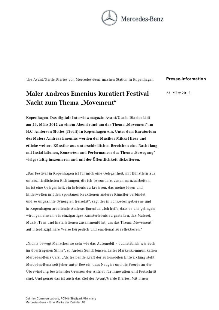 The Avant/Garde Diaries von Mercedes-Benz machen Station in Kopenhagen         Presse-InformationMaler Andreas Emenius kur...