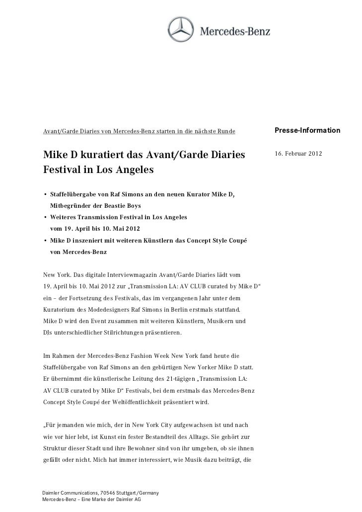 Avant/Garde Diaries von Mercedes-Benz starten in die nächste Runde                Presse-InformationMike D kuratiert das A...