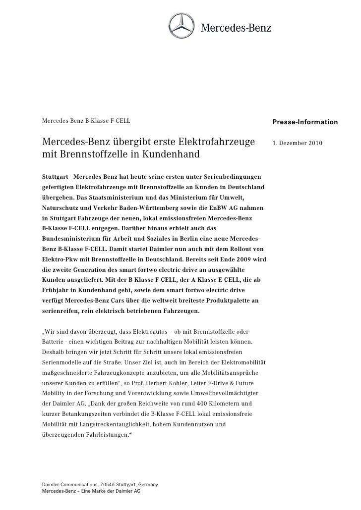 Mercedes-Benz B-Klasse F-CELL                                                        Presse-InformationMercedes-Benz überg...