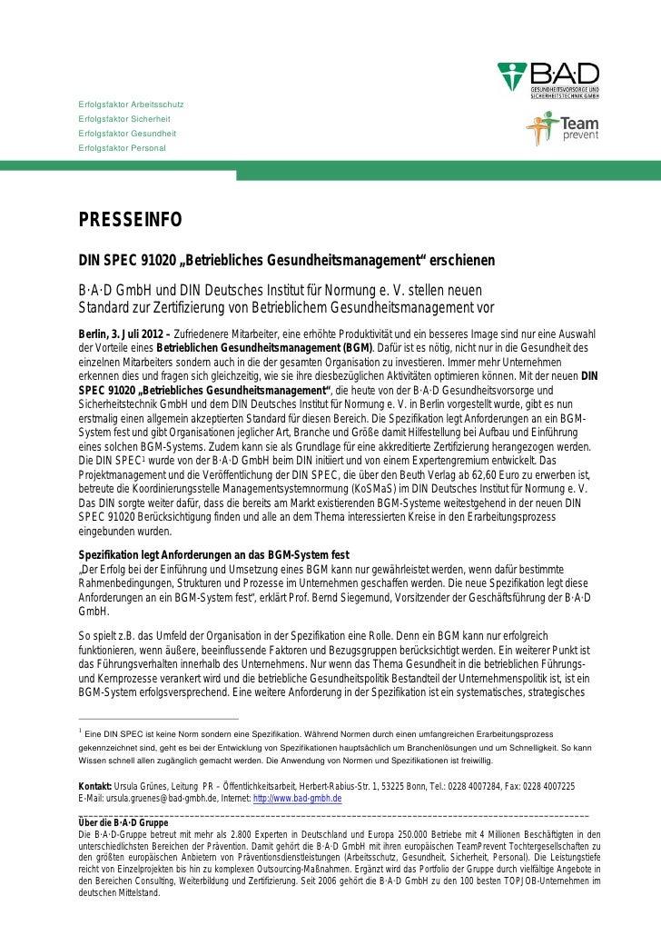 Erfolgsfaktor ArbeitsschutzErfolgsfaktor SicherheitErfolgsfaktor GesundheitErfolgsfaktor PersonalPRESSEINFODIN SPEC 91020 ...