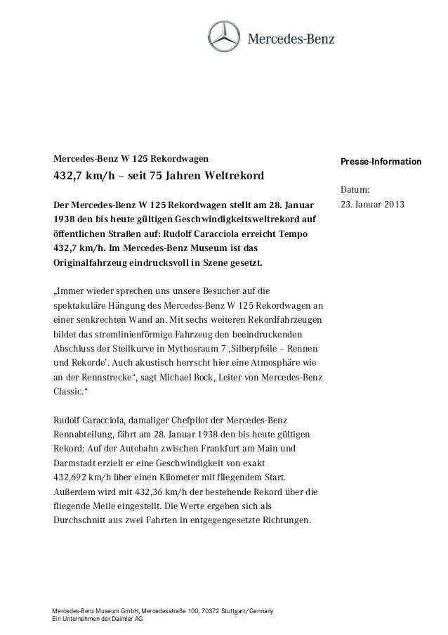 Mercedes-Benz W 125 Rekordwagen                                          Presse-Information432,7 km/h – seit 75 Jahren Wel...
