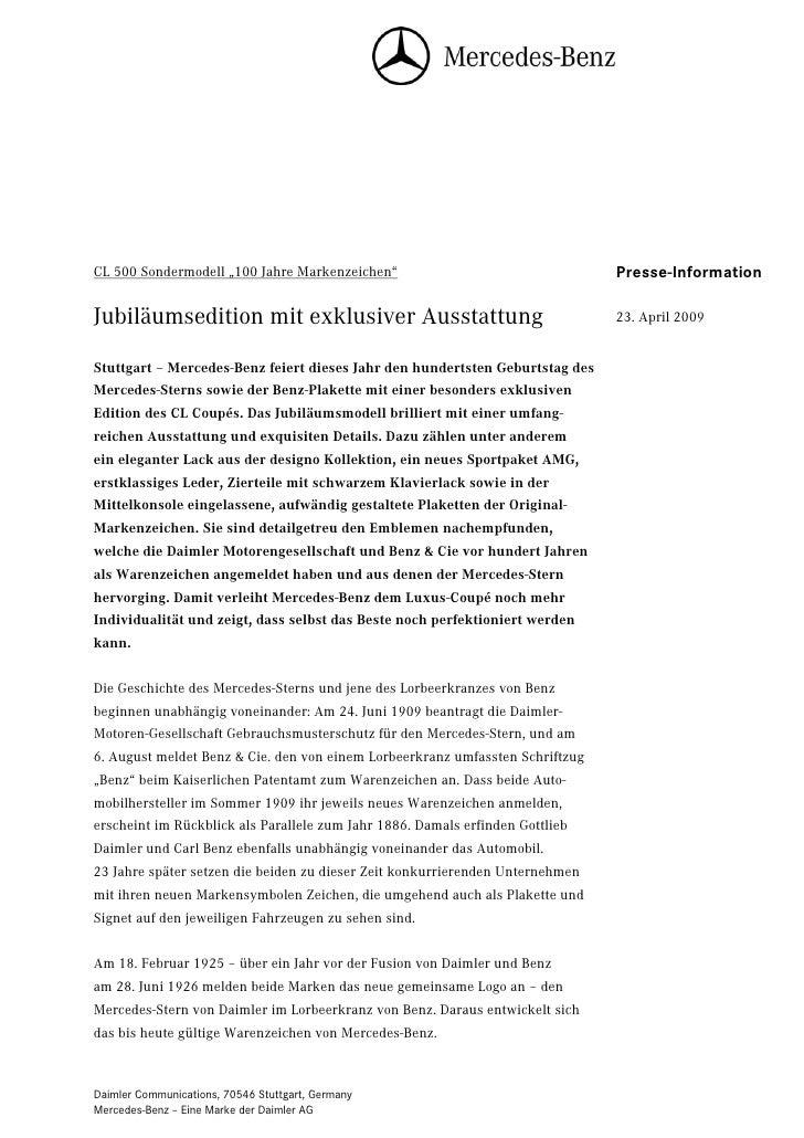 """CL 500 Sondermodell """"100 Jahre Markenzeichen""""                                  Seite 1                                    ..."""