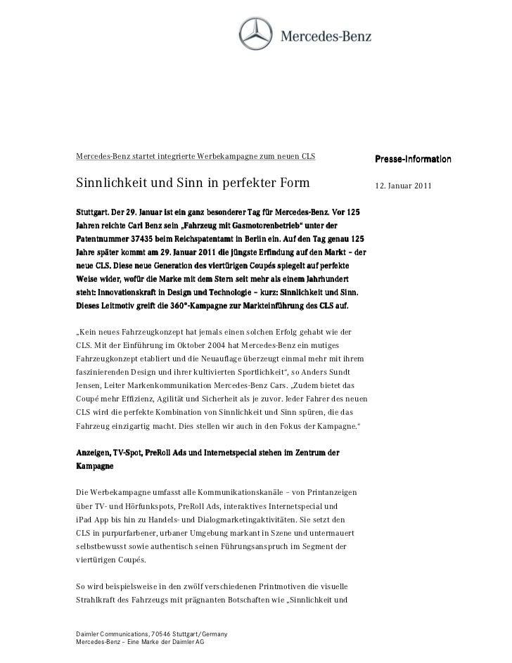 Mercedes-Benz startet integrierte Werbekampagne zum neuen CLS                        Presse-                              ...