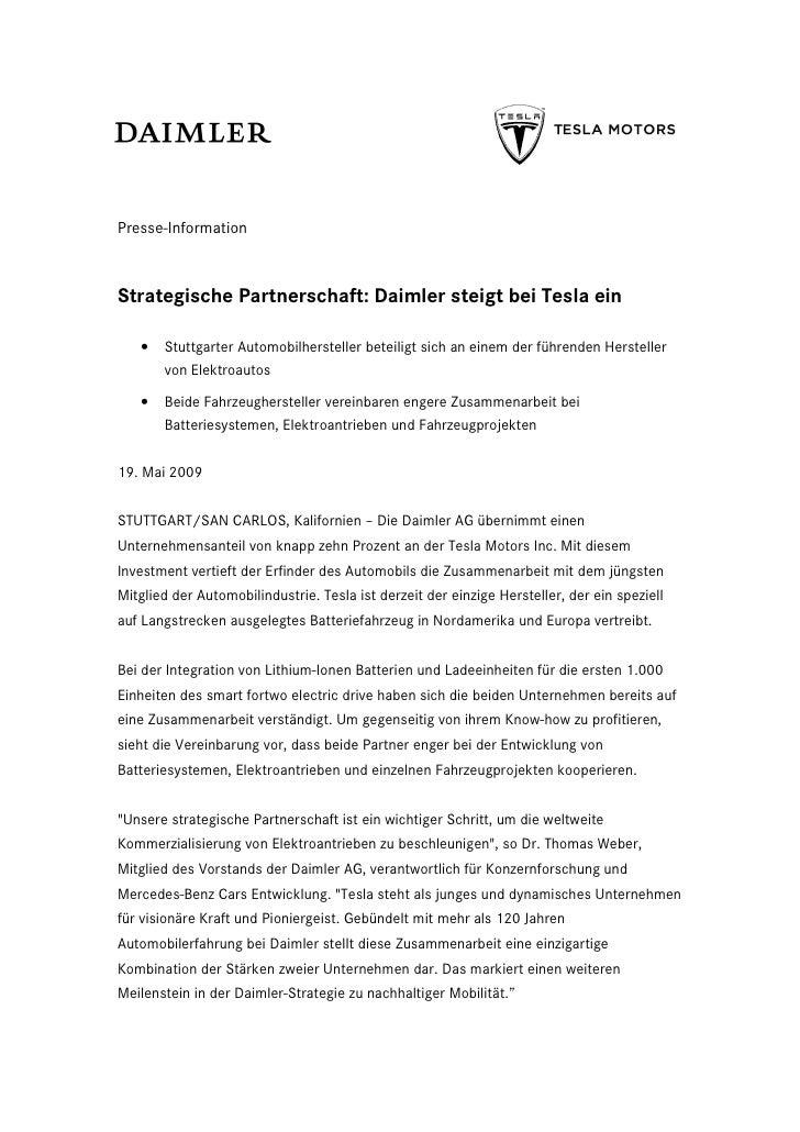 Presse-InformationStrategische Partnerschaft: Daimler steigt bei Tesla ein   •   Stuttgarter Automobilhersteller beteiligt...