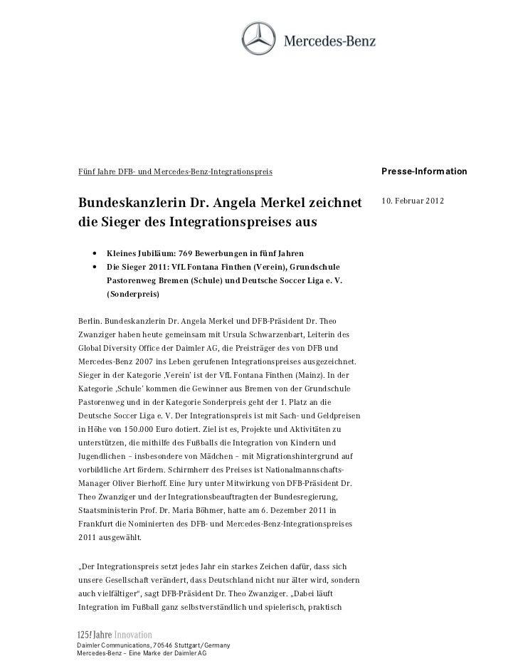 Fünf Jahre DFB- und Mercedes-Benz-Integrationspreis                              Presse-Information%XQGHVNDQ]OHULQ U $QJHO...
