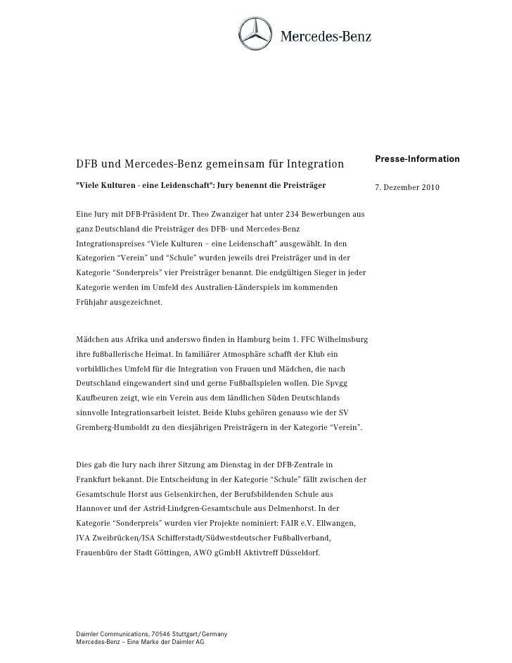 """Presse-InformationDFB und Mercedes-Benz gemeinsam für Integration""""Viele Kulturen - eine Leidenschaft"""": Jury benennt die Pr..."""