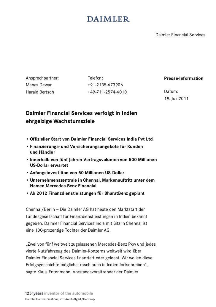Daimler Financial ServicesAnsprechpartner:                          Telefon:                      Presse-InformationManas ...