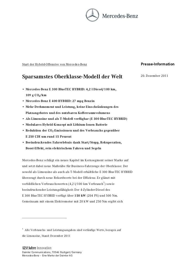 Start der Hybrid-Offensive von Mercedes-Benz                                   Presse-InformationSparsamstes Oberklasse-Mo...