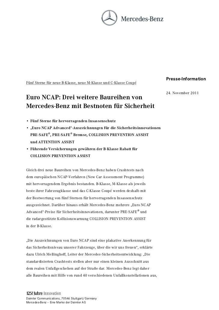 Presse-InformationFünf Sterne für neue B-Klasse, neue M-Klasse und C-Klasse Coupé                                         ...