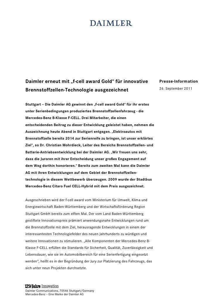 """Daimler erneut mit """"f-cell award Gold"""" für innovative                                Presse-InformationBrennstoffzellen-Te..."""