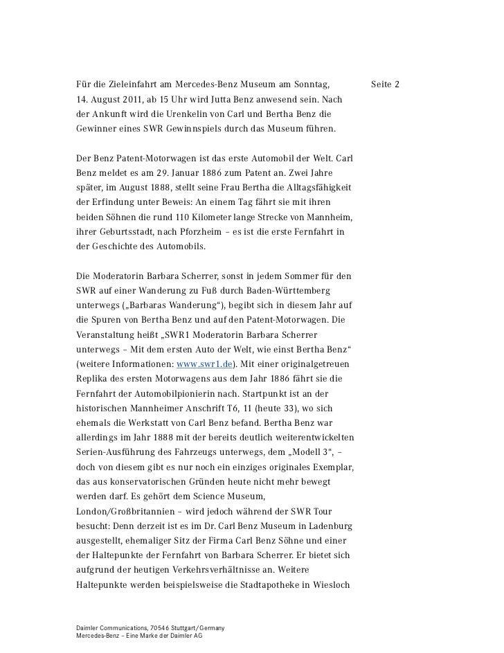 Für die Zieleinfahrt am Mercedes-Benz Museum am Sonntag,                Seite 214. August 2011, ab 15 Uhr wird Jutta Benz ...