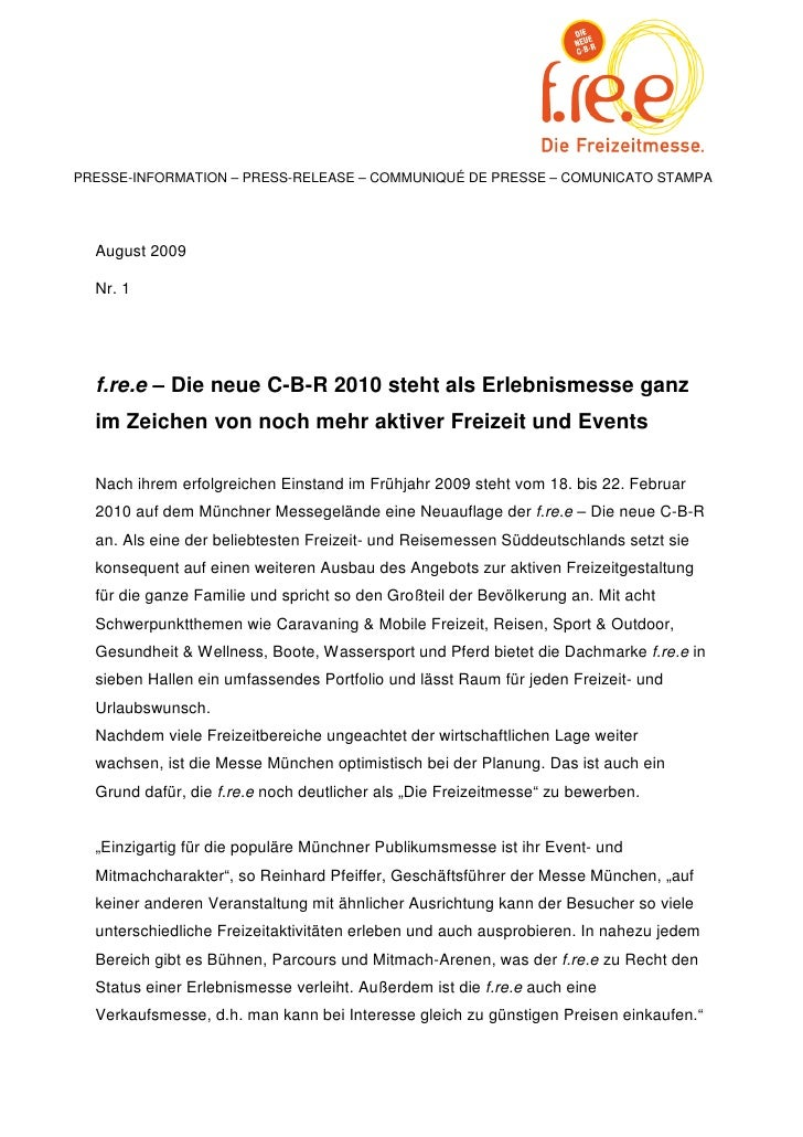 PRESSE-INFORMATION – PRESS-RELEASE – COMMUNIQUÉ DE PRESSE – COMUNICATO STAMPA  August 2009  Nr. 1  f.re.e – Die neue C-B-R...