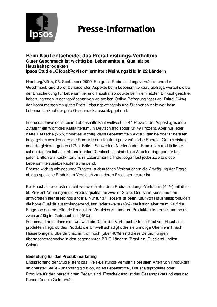 Presse-                            Presse-InformationBeim Kauf entscheidet das Preis-Leistungs-VerhältnisGuter Geschmack i...