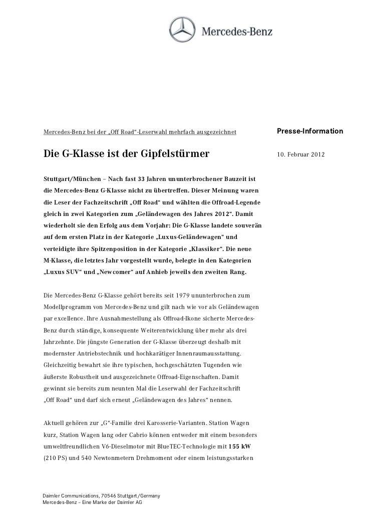 """Mercedes-Benz bei der """"Off Road""""-Leserwahl mehrfach ausgezeichnet            Presse-InformationDie G-Klasse ist der Gipfel..."""
