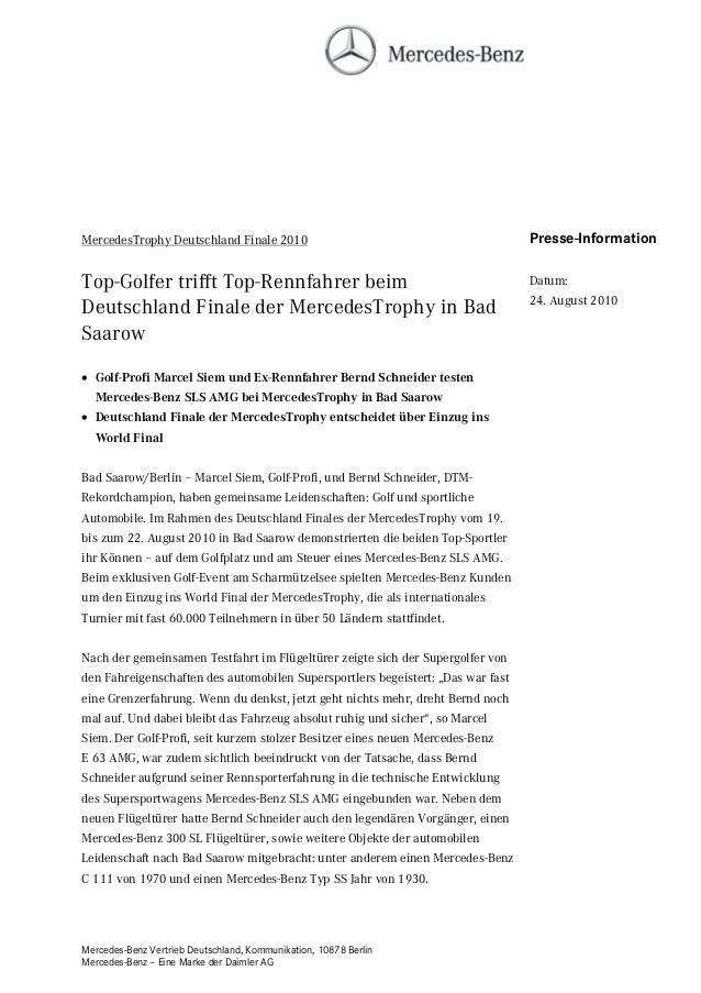 Mercedes-Benz Vertrieb Deutschland, Kommunikation, 10878 Berlin Mercedes-Benz – Eine Marke der Daimler AG MercedesTrophy D...