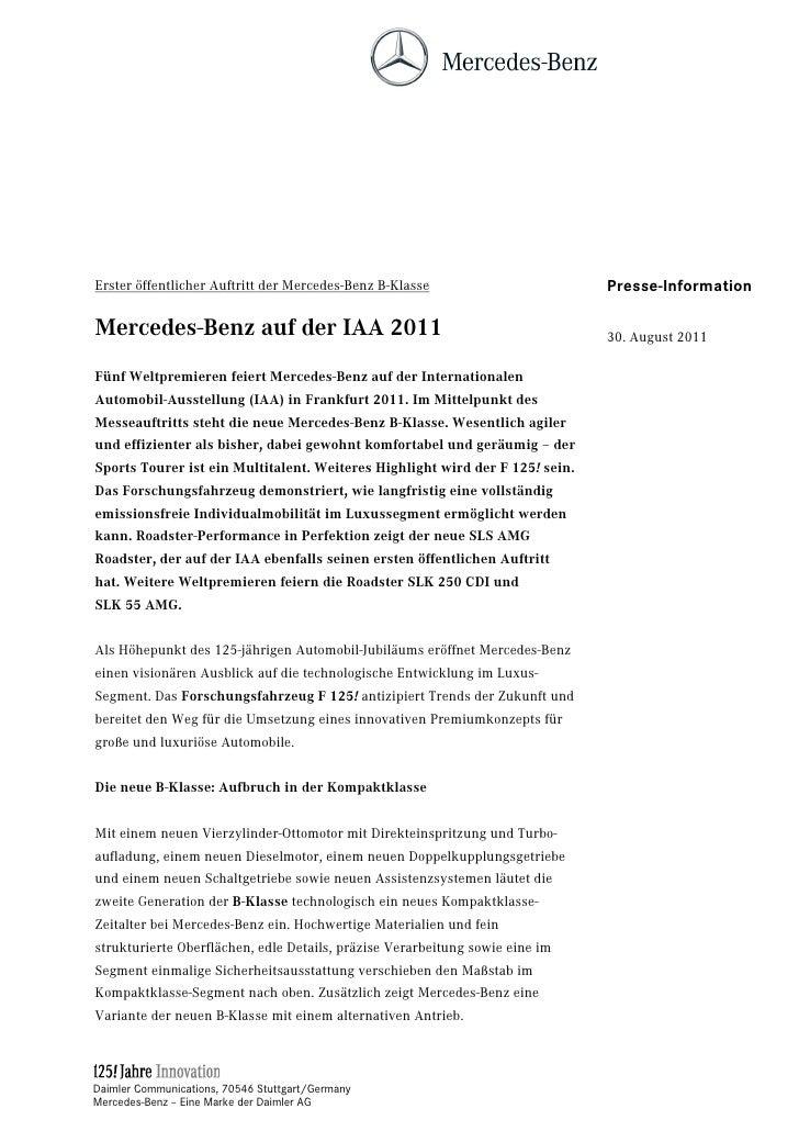 Erster öffentlicher Auftritt der Mercedes-Benz B-Klasse                       Presse-InformationMercedes-Benz auf der IAA ...