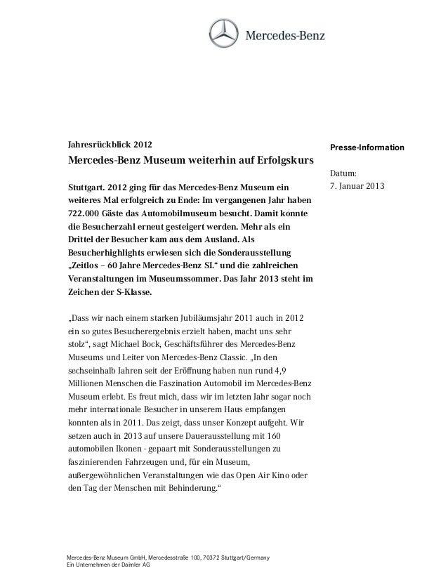 Jahresrückblick 2012                                                     Presse-InformationMercedes-Benz Museum weiterhin ...