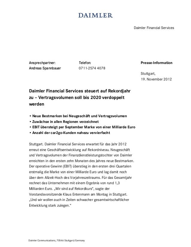 Daimler Financial ServicesAnsprechpartner:                         Telefon:                    Presse-InformationAndreas S...