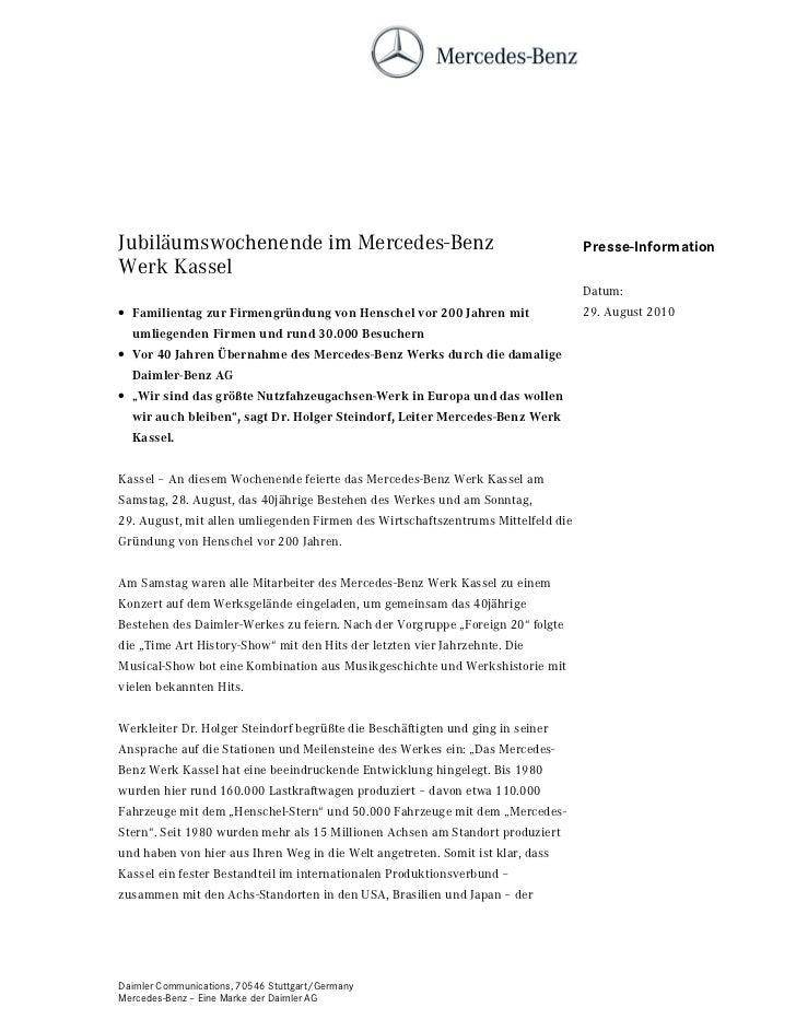 Jubiläumswochenende im Mercedes-Benz                                              Presse-InformationWerk Kassel           ...