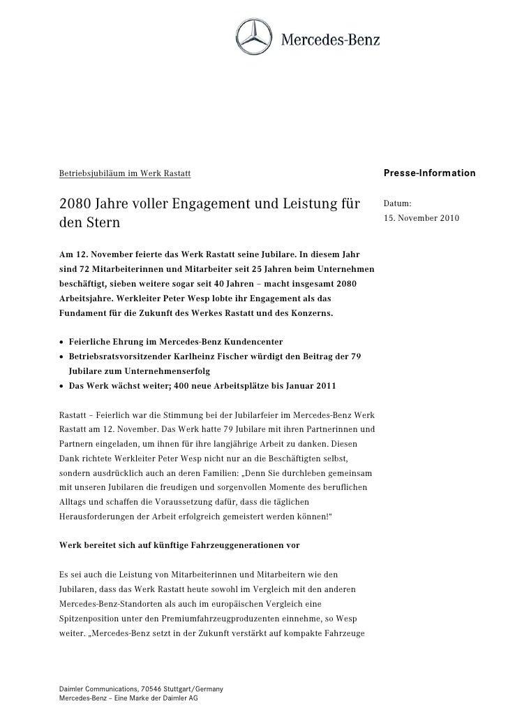 Betriebsjubiläum im Werk Rastatt                                                  Presse-Information2080 Jahre voller Enga...
