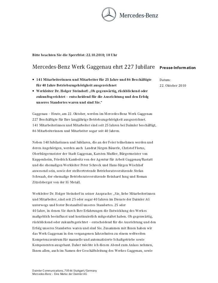 Bitte beachten Sie die Sperrfrist: 22.10.2010; 18 UhrMercedes-Benz Werk Gaggenau ehrt 227 Jubilare                        ...