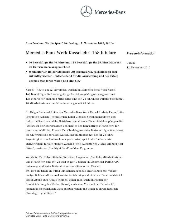 Bitte Beachten Sie die Sperrfrist: Freitag, 12. November 2010; 19 UhrMercedes-Benz Werk Kassel ehrt 168 Jubilare          ...