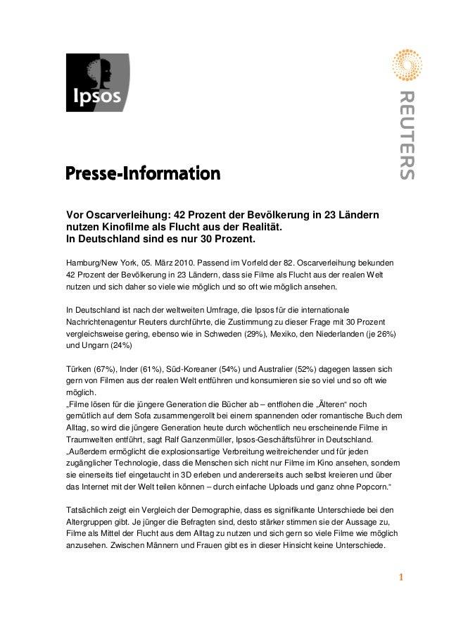 1 PressePressePressePresse----InformationInformationInformationInformation Vor Oscarverleihung: 42 Prozent der Bevölkerung...