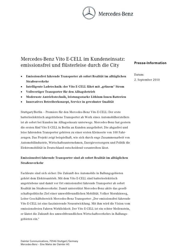 Mercedes-Benz Vito E-CELL im Kundeneinsatz:                                                                               ...